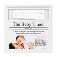 Baby Art Newsprint Frame Taupe & White