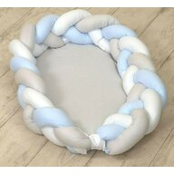 AMY - Baby Nest si Bumper impletit  multifunctional  80 x 50 cm  White/Grey/Blue