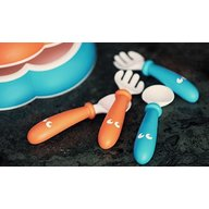BabyBjorn - Set Lingurite si Furculite pentru bebelusi 4 bucati, Orange, Turquoise