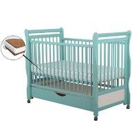 BabyNeeds - Patut din lemn Jas 120x60 cm, cu sertar, Mint + Saltea 12 cm