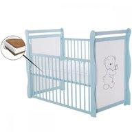 BabyNeeds - Patut din lemn Jas Ursulet 120x60 cm, cu laterala culisanta, Mint + Saltea 8 cm