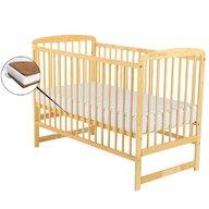 BabyNeeds - Patut din lemn Ola 120x60 cm, Natur+ Saltea 8 cm