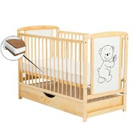 BabyNeeds - Patut din lemn Timmi 120x60 cm, cu sertar, Natur + Saltea 12 cm