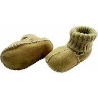 Altabebe - Botosei din piele si blanita de miel cu mansete tricotate, marime 16, Galben