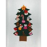 KidsDecor - Decoratiune Bradut de Craciun 75 cm, Pentru perete, Cu decoratiuni