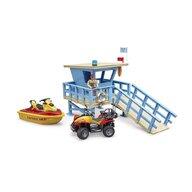 BRUDER - Set de joaca Statie de salvamari , Cu figurine, Cu ambarcatiuni
