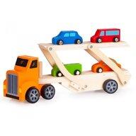 Ecotoys - Vehicul de lemn Camion de remorcare Lora Cu 4 masini