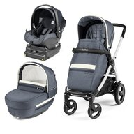 Peg Perego - Carucior 3 in 1, Book Plus 51 S, Titania White, baza i-Size inclusa, Luxe Mirage