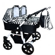 Pj Baby - Carucior copii gemeni side by side 3 in 1, PJ STROLLER, Zebra