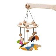 Mobbli - Carusel din lemn Mobile , Animale, Cu 5 jucarii colorate