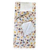 Deseda - Set 3 piese de iarna paturica cu cearsaf si pernuta pentru pat 140x70 cm, Catelusi pe alb