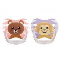 Dr. Brown's - Suzeta PreVent, imprimata Animal Face , 2pack, nivel 2(6-12 luni), fete