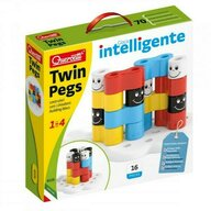 Quercetti - Joc educativ pentru copii Twin Pegs, 16 piese multicolore si baza speciala in forma de floare
