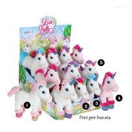 Jucarie de plus, Unicorn alb si roz, cu sunet 22 cm