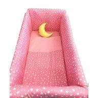 Deseda - Lenjerie de patut bebelusi 120x60 cm cu aparatori Maxi Stelute pe roz