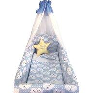 Deseda - Lenjerie de patut bebelusi 9 piese pat 140x70 cm cu aparatori si baldachin Maxi  Steluta Noapte buna Albastru