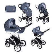 Lorelli - Carucior set Mia, roti cu camera, cos auto inclus, Light&Dark Blue