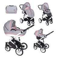 Lorelli - Carucior set Mia, roti cu camera, cos auto inclus, Pink, Grey