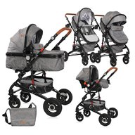 Lorelli - Carucior transformabil 3 in 1 Alba, cos auto inclus, Dark Grey