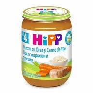 HiPP - Meniu vitel cu orez si morcov, 190 gr