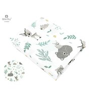 MimiNu - Cearceaf cu elastic, 120X60 cm, Forest friends Grey/Mint