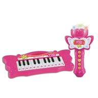 Bontempi - Orga Mini Electronica Cu microfon Karaoke, Cu 24 de clape, Roz