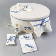 Nikos Collection - Cutie si trusou botez complet dantela, Bleu