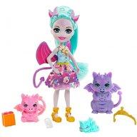 Enchantimals - Papusa Deanna Dragon Family Cu accesorii, Cu 3 figurine by Mattel