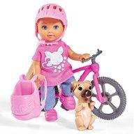 Simba - Papusa Evi Love 12 cm Holiday Bike cu bicicleta si catelus