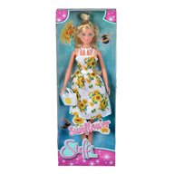 Simba - Papusa Steffi Love , Cu rochita cu imprimeu floarea soarelui, Alb