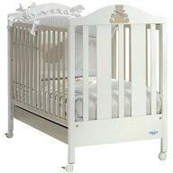 Baby Italia - Patut cu laterala culisanta + sertar Theo , Lemn masiv, 127x63 cm, Alb