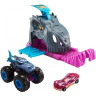 Hot Wheels - Pista de masini Monster Truck Pit and Launch Team Mega Wrex Cu 2 masinute by Mattel
