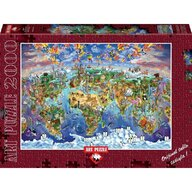 Puzzle 2000 piese World Wonders Illustrated Map, MARIA RABINKY