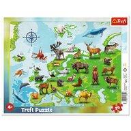 Trefl - Puzzle tip rama Harta Europei cu animale , Puzzle Copii , Plansa, piese 25