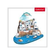 CUBICFUN - Puzzle 3D Insula Santorini Nivel complex Puzzle Copii, piese 129