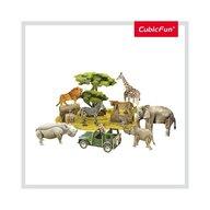 CUBICFUN - Puzzle 3D Animale salbatice Cu brosura Puzzle Copii, piese 69