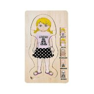 MamaMemo - Puzzle din lemn Corpul omenesc (fata) , Puzzle Copii , In straturi, piese 36