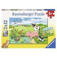 Ravensburger - Puzzle Animale la ferma, 2x12 piese