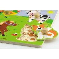 Viga - Puzzle din lemn Animale de la ferma , Puzzle Copii , Cu manere, piese 4