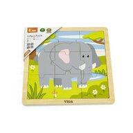 Viga - Puzzle din lemn Elefant , Puzzle Copii , Cu piese mari, piese 9