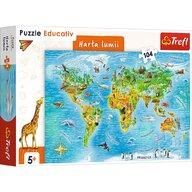 Trefl - Puzzle educativ Harta lumii , Puzzle Copii, piese 104