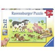 Ravensburger - Puzzle Familii animale, 2x12 piese