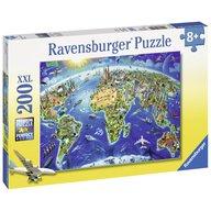 Ravensburger - Puzzle Harta lumii, 200 piese