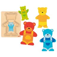 Goki - Puzzle din lemn Ursuleti Incastru Puzzle Copii, piese5