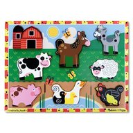 Puzzle lemn in relief  Animale de ferma Melissa and Doug