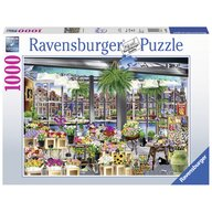 Ravensburger - Puzzle peisaje Piata de flori din Amsterdam , Puzzle Copii, piese 1000
