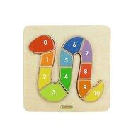 Masterkidz - Puzzle din lemn Sarpe colorat cu numere 1-10 , Puzzle Copii, piese 10