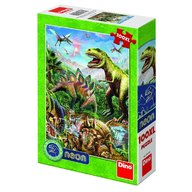 Dino - Toys - Puzzle XL lumea dinozaurilor neon 100 piese