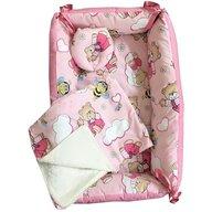 Deseda - Reductor Bebe Bed Nest cu paturica si pernuta antiplagiocefalie  Ursi cu albine pe roz