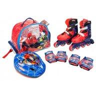 Saica - Role copii reglabile 35-38 Spiderman, cu protectii si casca in ghiozdan
